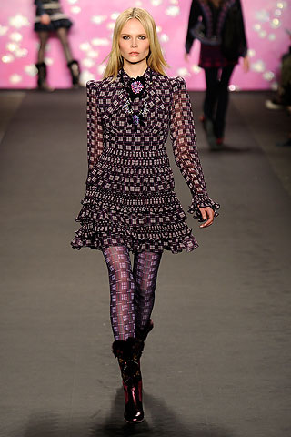 Anna Sui Black Chiffon Runway Dress