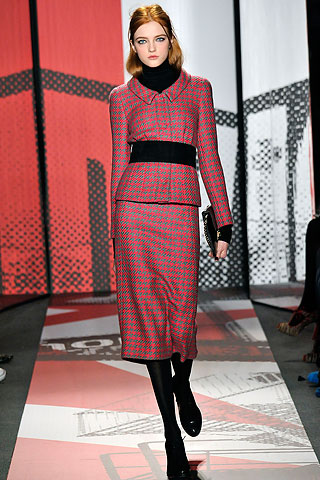 DKNY red houndstooth suit