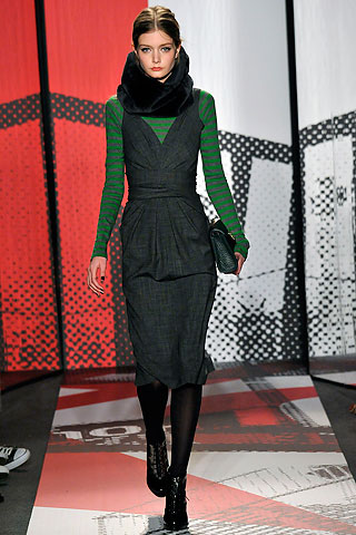 DNKY charcoal houndstooth suit DKNY green and charcoal runway dress