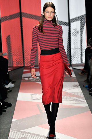 DKNY striped shirt and pencil skirt combo