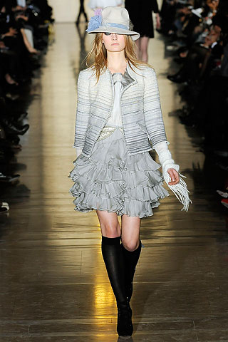 Jill Stuart Grey Striped Runway Jacket and Skirt