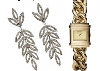 statement earrings and dress watch