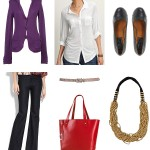 purple cardigan ensemble