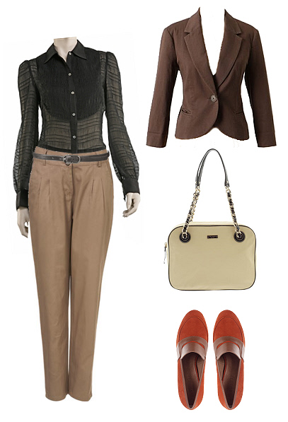work fashion in black &amp; beige
