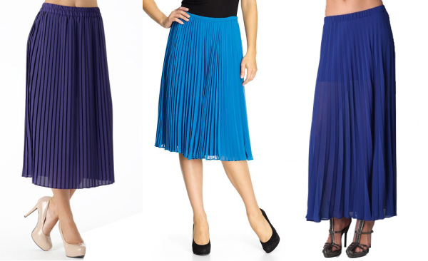 blue pleated skirt