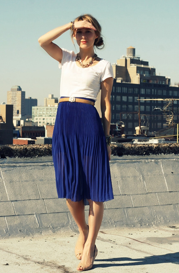 Pleated Blue Skirt Office Outfit | WorkChic