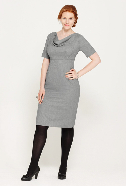 Fall Sheath Dresses With Jackets In Gray cardigan or tweed jacket