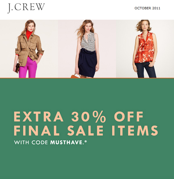 Today only: Extra 30% off sale items at JCrew.com