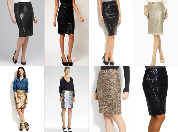 Sequin pencil skirts