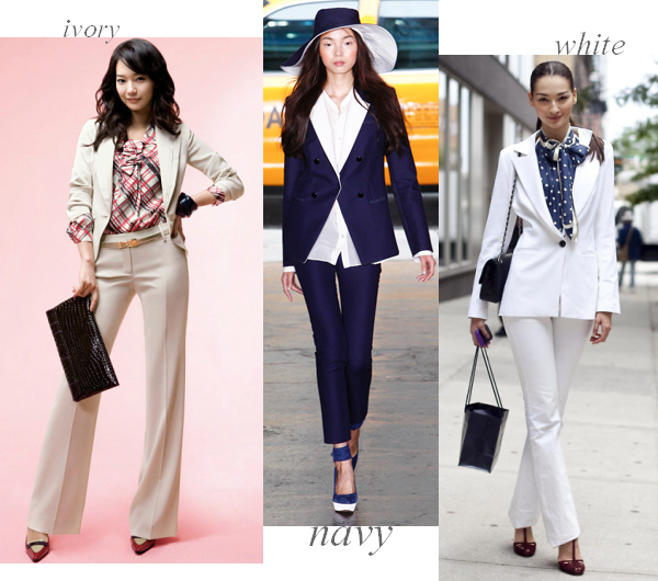Right now we are really into light and cool colored suits for spring