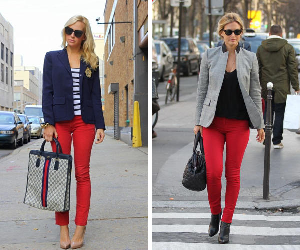 red skinny pants