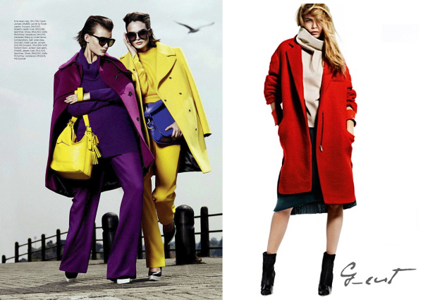Bright and colorful coats for work