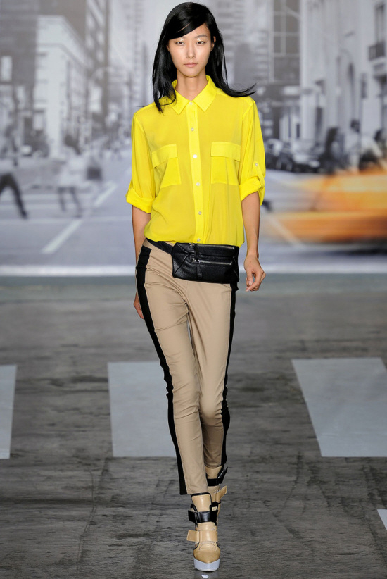 yellow button blouse
