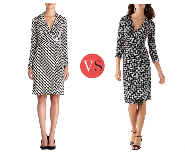 Look for Less – DVF chain print wrap dress
