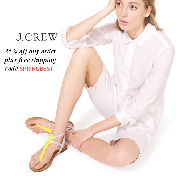 25% off any order plus free shipping at J.Crew