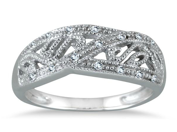 Diamond Engraved Ring in Sterling Silver – $28