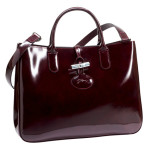 glossy leather tote