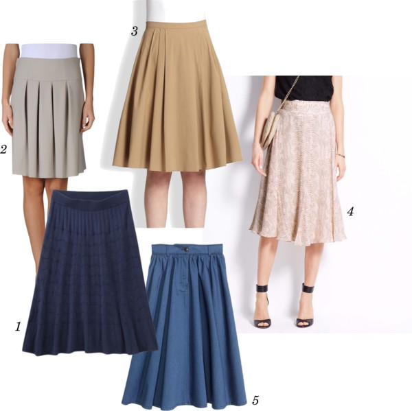 pleated knee length skirts
