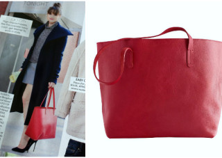 top handle red tote