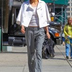 women's gray trousers