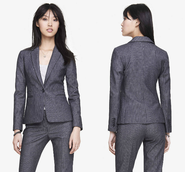 women's navy striped suit
