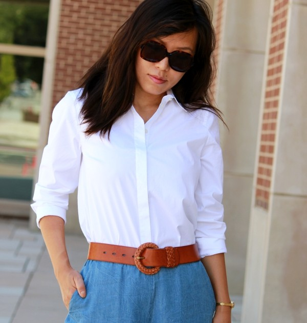White Shirt + Blue Culottes