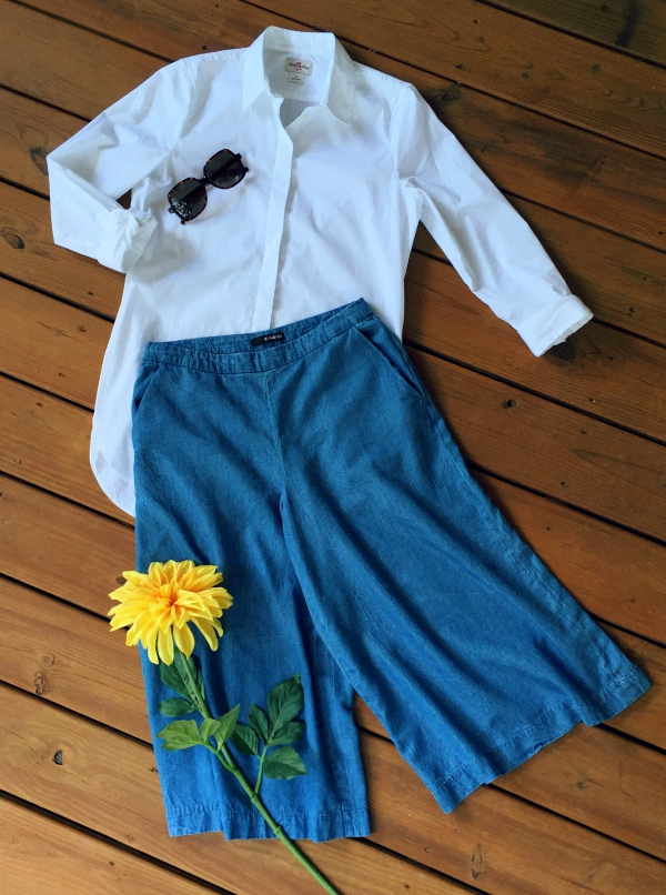denim culottes work outfit