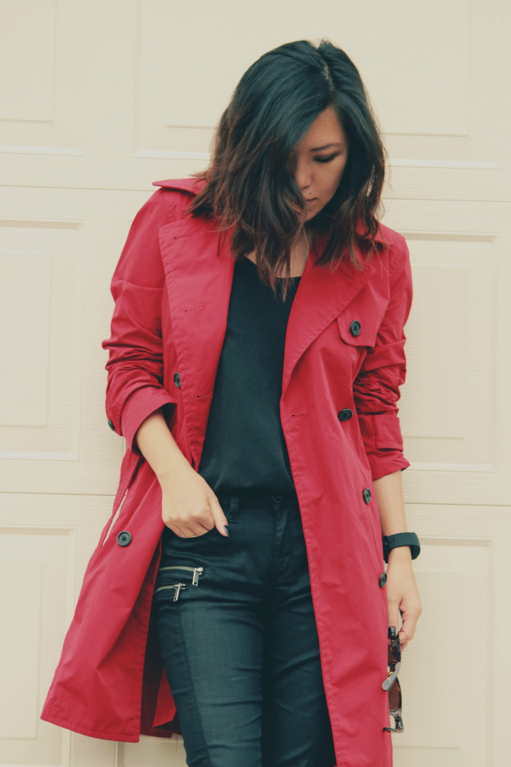 red trench coat outfit