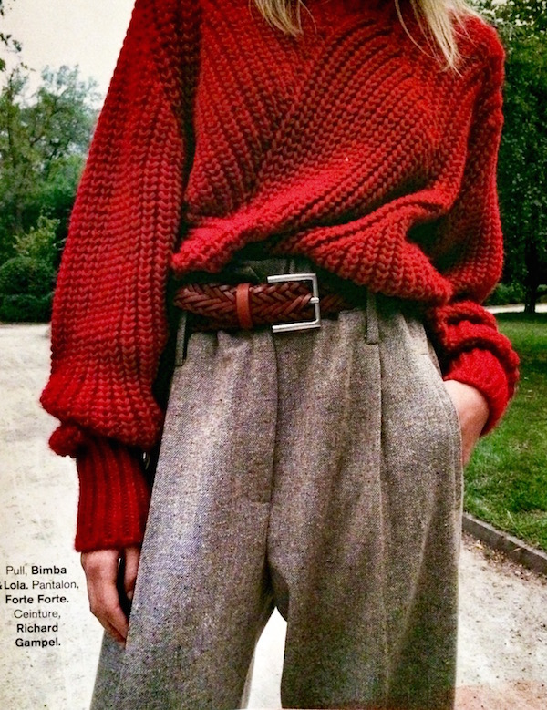 over-sized red sweater