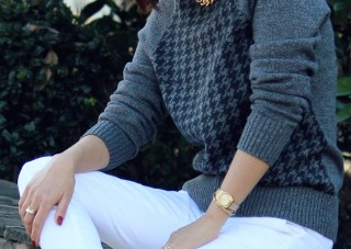 houndstooth sweater outfit