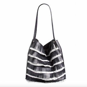 black white fringe bag