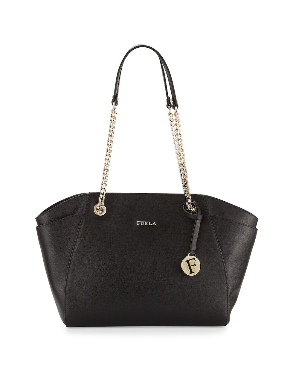 black tote bag with chain handles