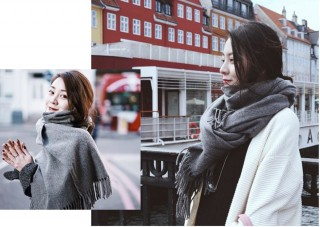 gray scarf outfit ideas
