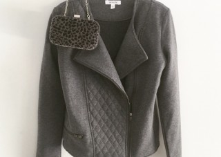 stretchy knit moto jacket