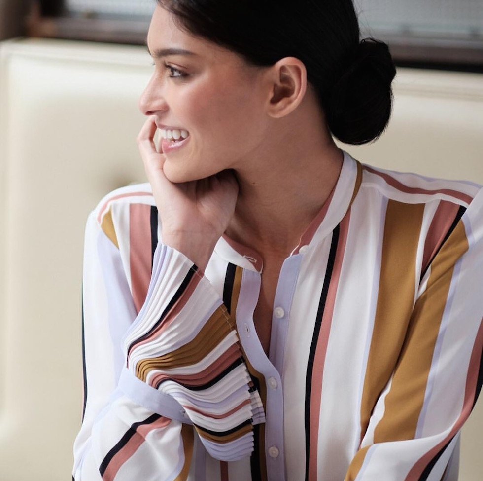 striped work blouse
