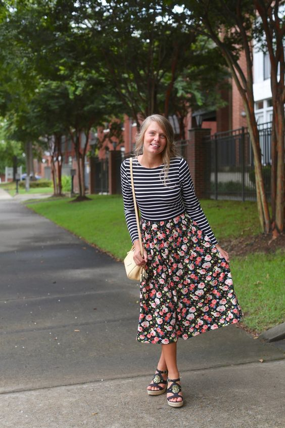 stripe shirt floral skirt outfit
