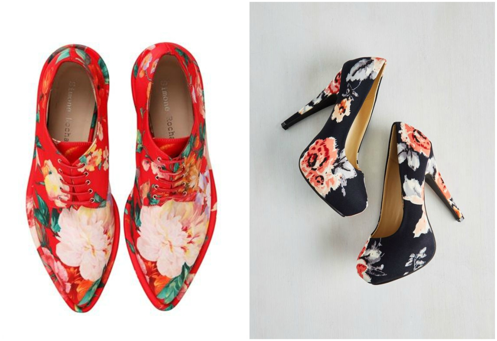 flower print office shoes