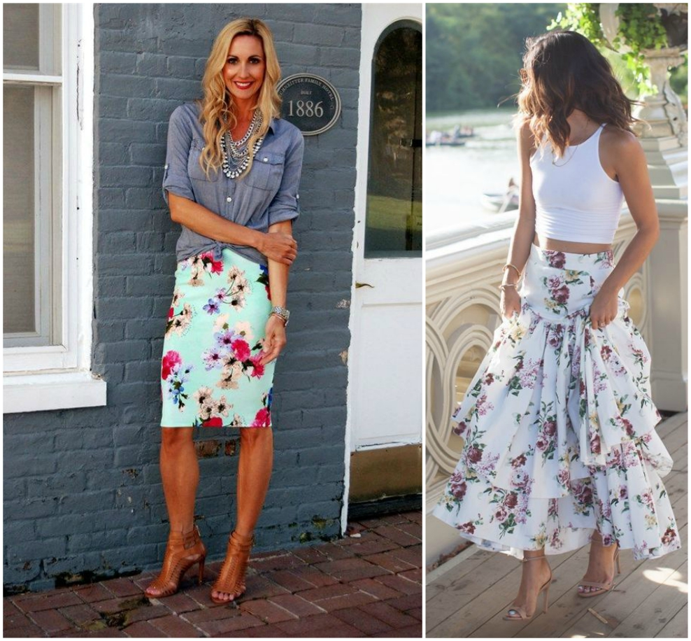 how to wear floral skirt