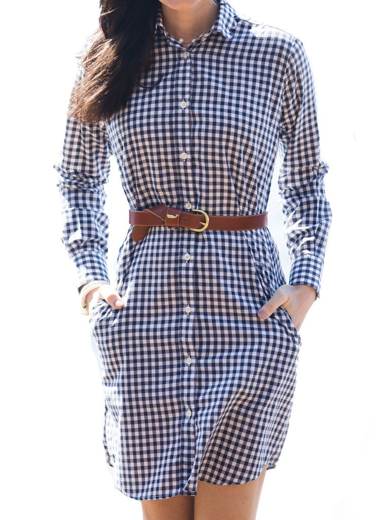 navy gingham shirtdress