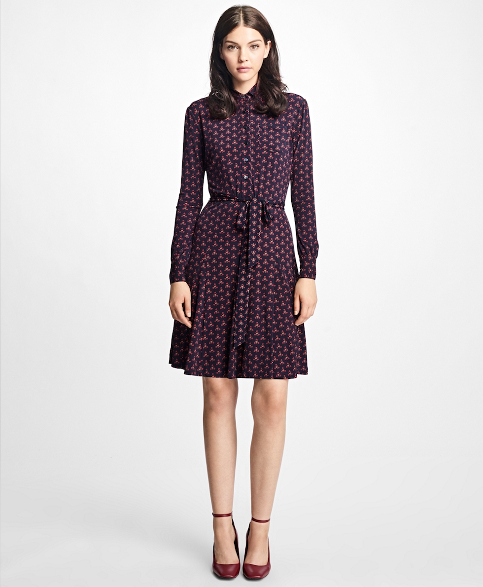 long sleeve print shirtdress