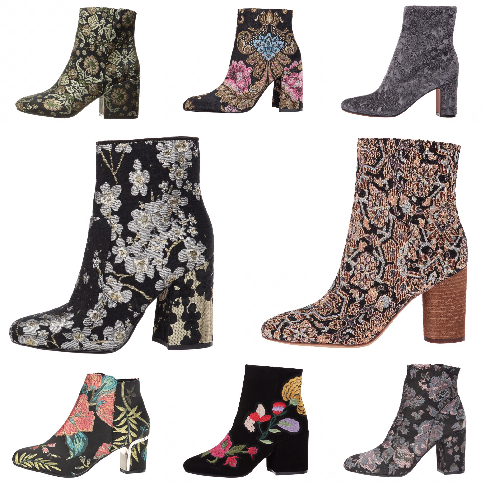 floral ankle boots for fall
