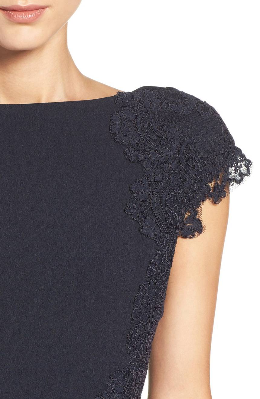 lace accent navy dress
