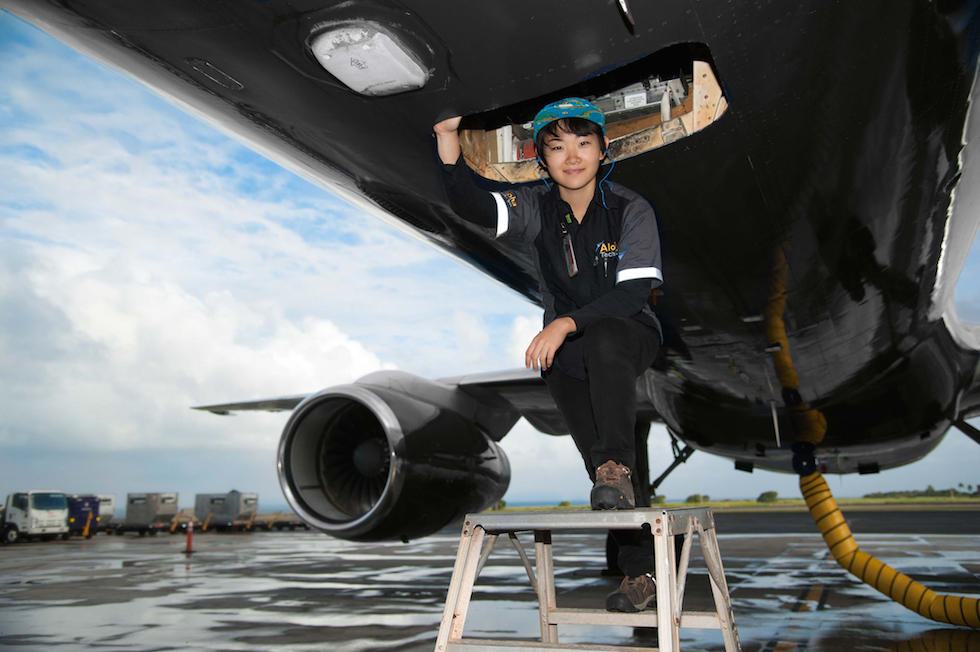 female aircraft mechanic
