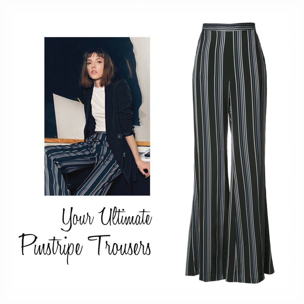 wide leg pinstripe pants