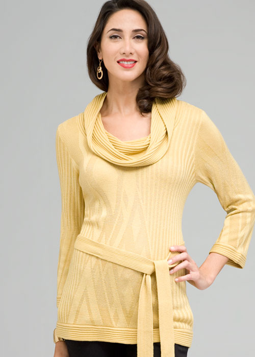 Cowl Neck Belted Tunic Sweater