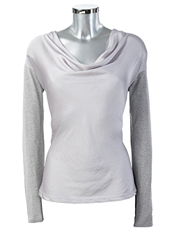 Grey Cowlneck Top