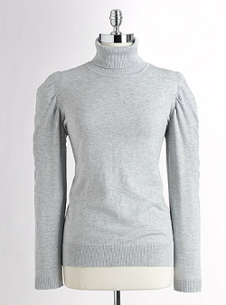 Shirred Sleeve Turtleneck