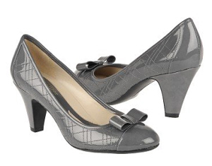 Gray Bow Pumps
